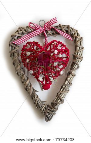 Wooden Heart with Red Heart and Rose