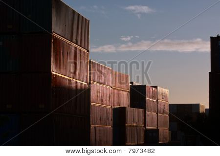 Cargo shipping containers in early sun