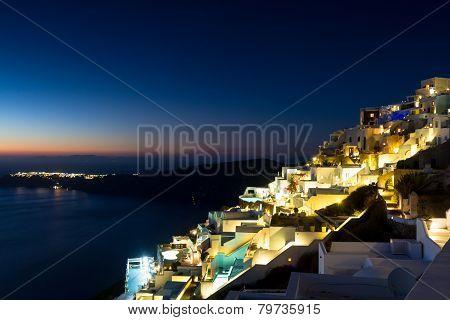 Village Of Imerovigli At Night