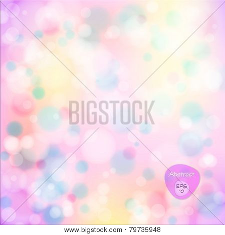 Vector illustration of soft colored abstract background. Elegant abstract background with bokeh ligh