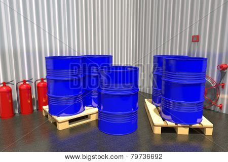Barrels Of Fuel On A Pallet Are In The Industrial Warehouse.
