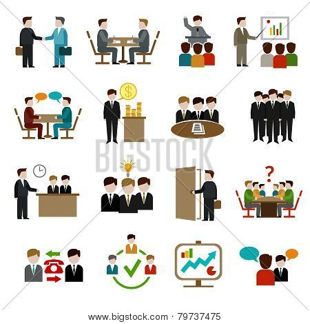 Business Meeting Icons Set