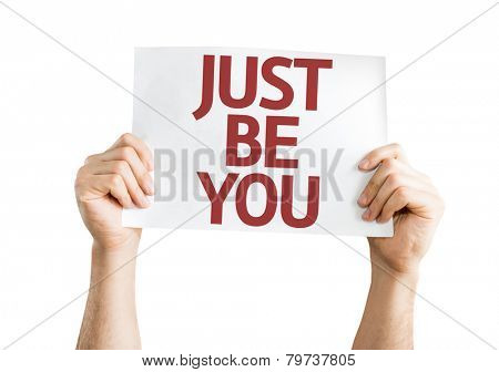 Just Be You card isolated on white background