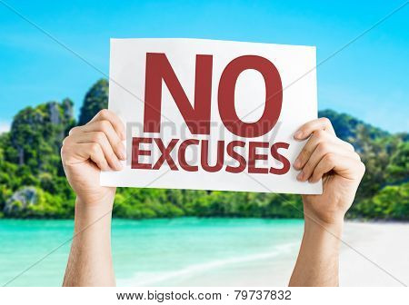 No Excuses card with a beach on background