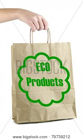 Paper bag with eco products in hand isolated on white