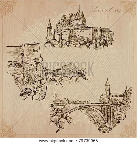 Luxembourg Travel - Hand Drawn Vector Pack