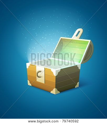 Magic fairytale wooden trunk empty with lights. Eps10 vector illustration