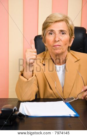 Aged Woman Give Thumb Up
