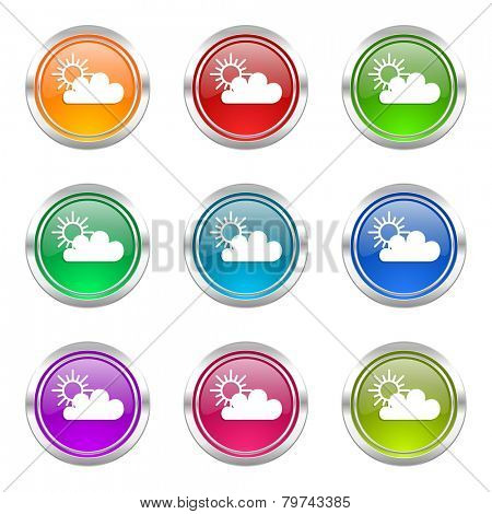 cloud icons set waether forecast sign