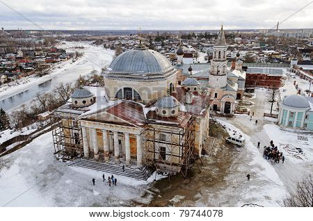 Upper View Of Boris And Gleb Monastery In Torzhok, Winter Time