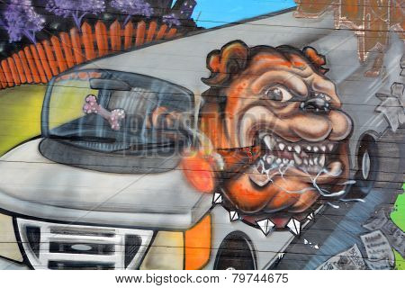Street art Montreal bulldog