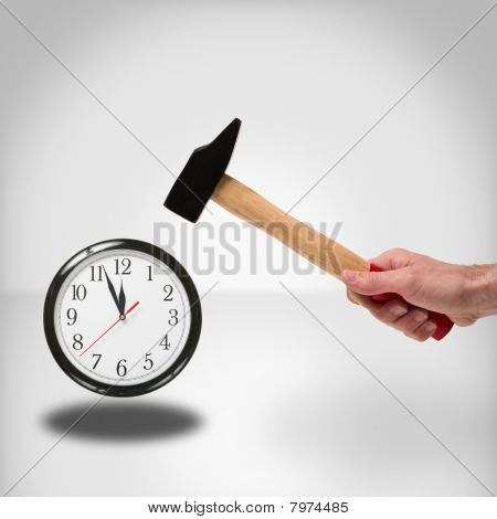 hammer and clock