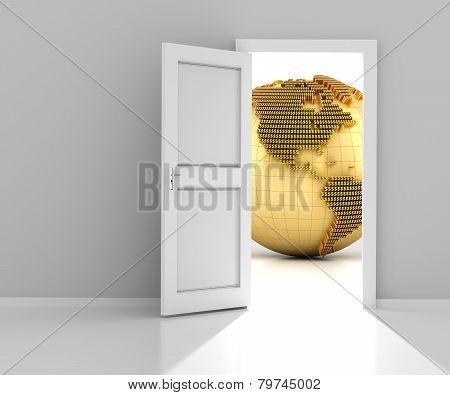 Door to the financial world, 3d render