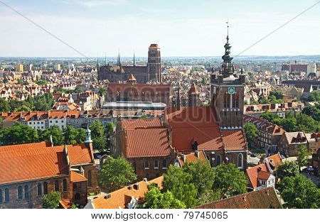 Bird Eye View Of Gdansk City Centre, Poland