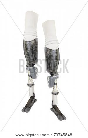 prosthetic leg on the white background