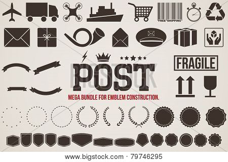Icons Delivery for design emblems. Vector illustration