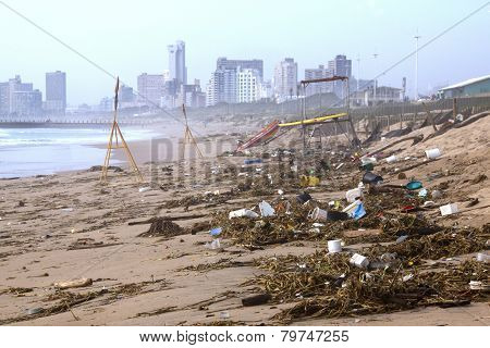 Debris On Beach Washed Up After Spring Tides, Durban