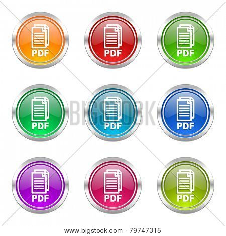 pdf icons set pdf file sign