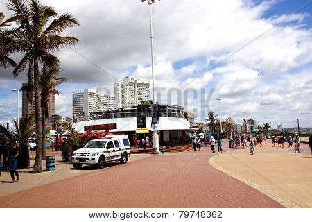 Pedestrians On Promenade Of Durban Beachfront, South Africa