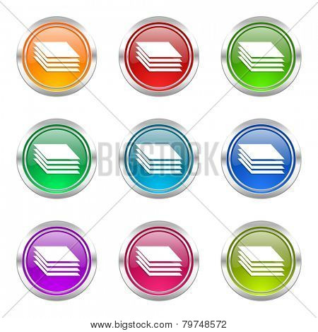 layers icons set gages sign
