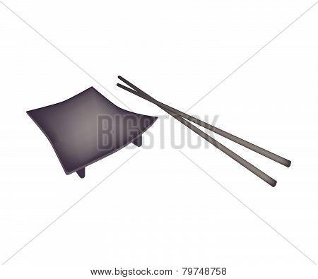 Beautiful Black Geta Plate Or Wooden Sushi Board