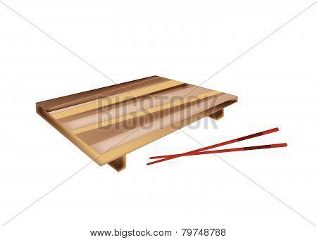 Beautiful Wooden Geta Plate Or Bamboo Sushi Board