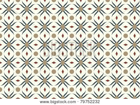 Dark Blue Modern Flower And Rhomboid And Circle Pattern On Pastel Background