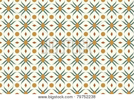 Dark Green Modern Flower And Rhomboid And Circle Pattern On Pastel Background