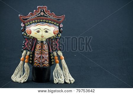String Puppet Myanmar tradition dolls, Wooden dolls on black background