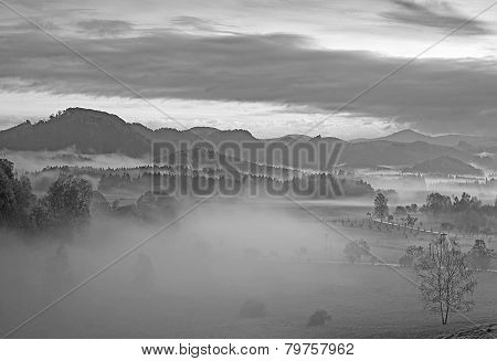 Hilly Landscape With Fog Black and White