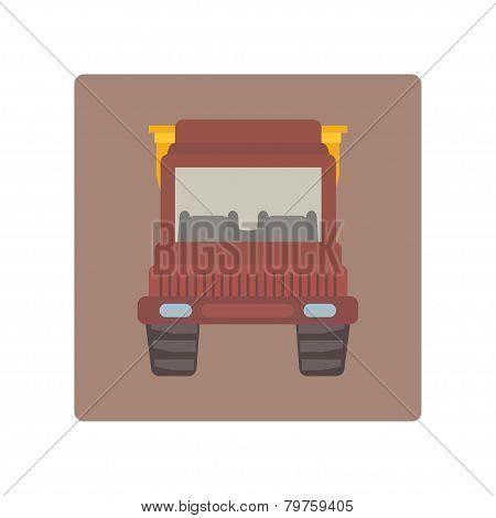 Cartoon tipper truck flat icon