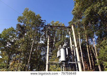 Old Transformer Station In The Forest