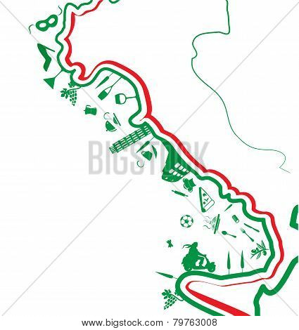 Italian Map Whit Symbol On White Background