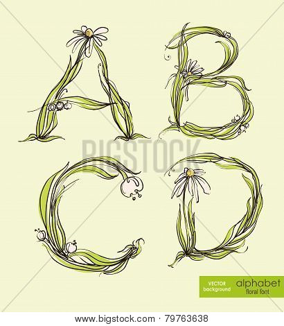 Spring Floral Stylized Hand Drawing Alphabet.  Vector Illustration.