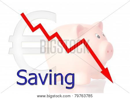 Red Diagram Downwards Saving With Piggy Bank Euro Symbol
