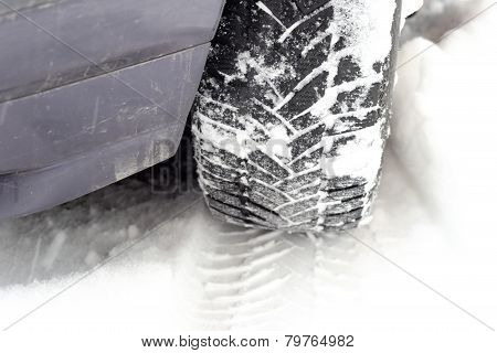 Car Tire Tread In Snow