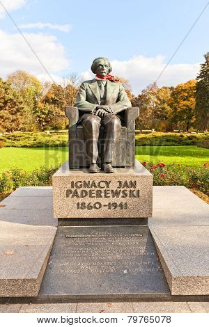 Ignacy Jan Paderewski Monument In Warsaw, Poland
