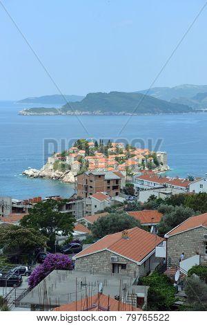 Sveti Stefan And Saint Nicholas Island Near Budva, Montenegro.