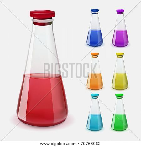 Bottles of potion. Vector illustration.
