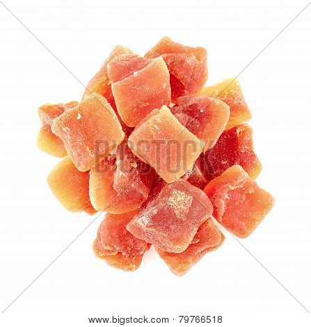 Aerial Shot Of Dehydrated Papaya Pieces