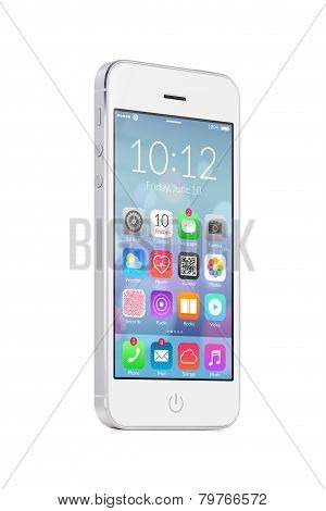White Modern Mobile Smart Phone With Colorful Application Icons On The Screen