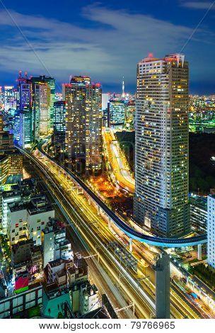 Aerial View Of Tokyo Skyscrapers, Minato, Japan