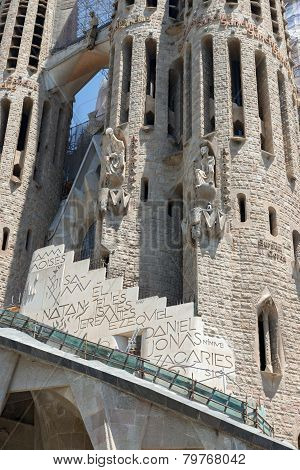 Front Part Of Sagrada Familia Cathedral In Barcelona, Catalonia, Spain.