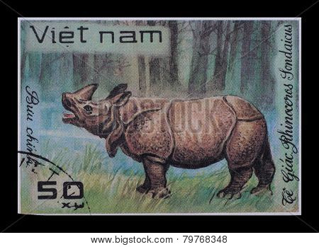 Post Stamp. Rhinoceros Sondaicus
