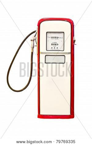 Vintage Gasoline Pump Isolated On White Background.