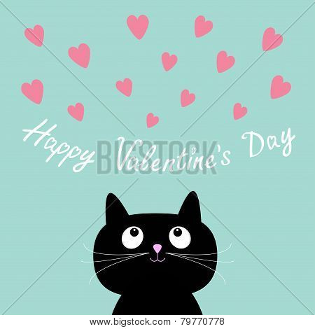 Pink Hearts And Cute Cartoon Cat. Flat Design Style. Happy Valentines Day