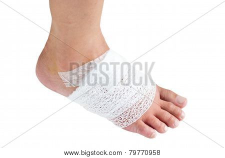Injured Ankle With Bandage.