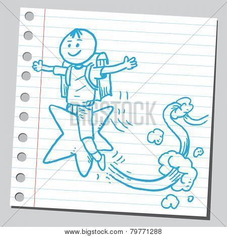 Schoolkid flying on star