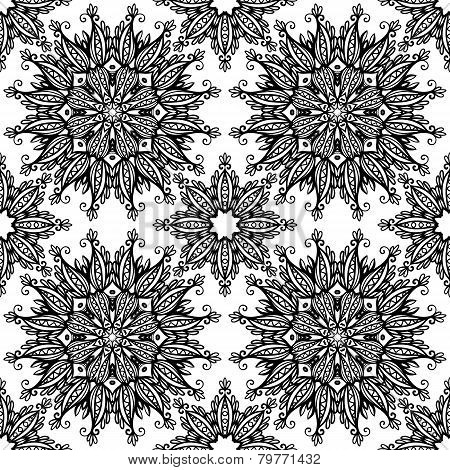 Black and white hand drawn vintage stars seamless pattern