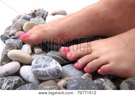Woman Feet (pedicure) With Stones